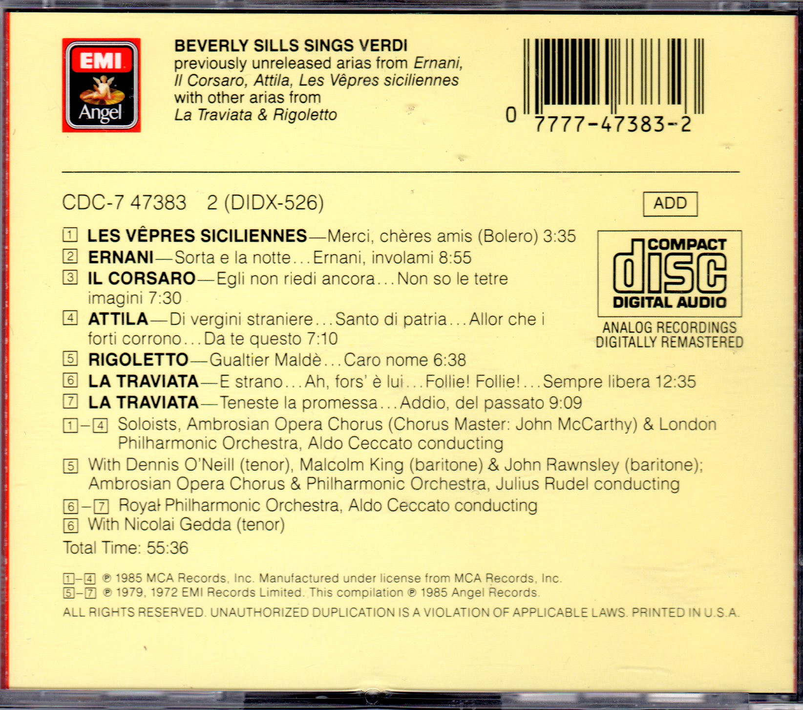 BEVERLY SILLS sings Verdi (EMI/Angel label) / ALDO CECCATO & JULIUS RUDEL,  conductors  PRIVATE COLLECTION  (ITunes digital download)